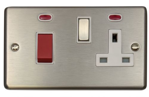 G&H CSS229 Standard Plate Brushed Steel 45 Amp DP Cooker Switch & 13A Switched Socket